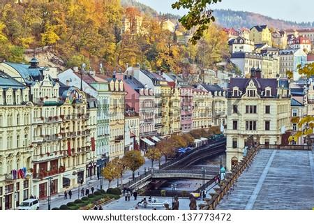 Houses in city center of Karlovy Vary - stock photo