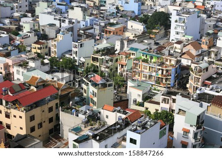 Houses in Ho Chi Minh City - Vietnam's largest city - stock photo