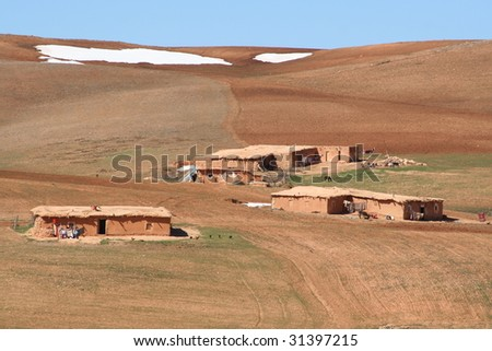 Houses in mountain village, Morocco - stock photo