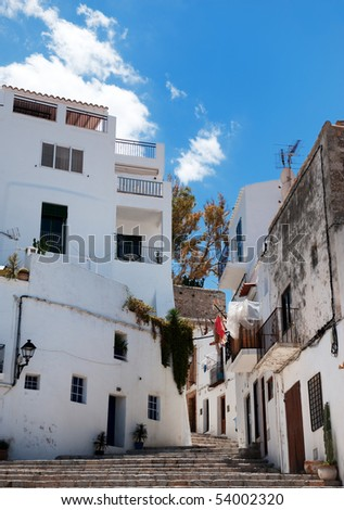 houses in old Ibiza town, Ibiza Spain