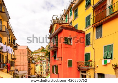 Houses in Riomaggiore (Rimazuu), a village in province of La Spezia, Liguria, Italy. It's one of the lands of Cinque Terre, UNESCO World Heritage Site