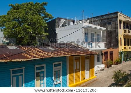 Houses in Santo Domingo's Zona Colonial , Dominican Republic - stock photo