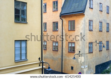 Houses in Stockholm in an old city( gamla stan). Sweden - stock photo