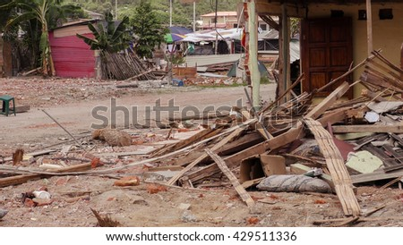 Houses In The Coast Of Ecuador has Been Devastated By The Massive Earthquake South America, April 16Th, 2016  - stock photo