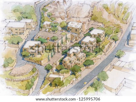 houses in the old city of East Jerusalem - stock photo