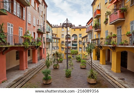 Houses in the old district of the city of Nice, France - stock photo