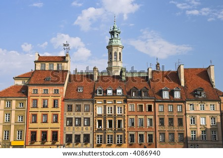 Houses in the Old Town, Warsaw, Poland.