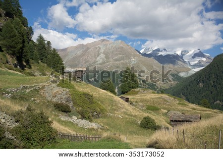 Houses in the swiss Alps, Zermatt - stock photo