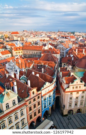 houses near old town square in Prague, Czech Republic, view from above - stock photo