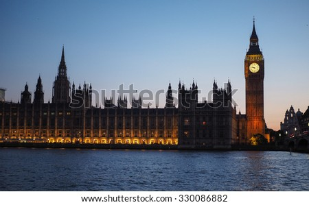Houses of Parliament aka Westminster Palace at night in London, UK - stock photo