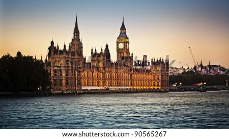 Houses of Parliament and Big Ben in Westminster at dusk, London. - stock photo