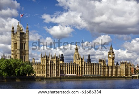 Houses of Parliament and the Big Ben in summer - stock photo