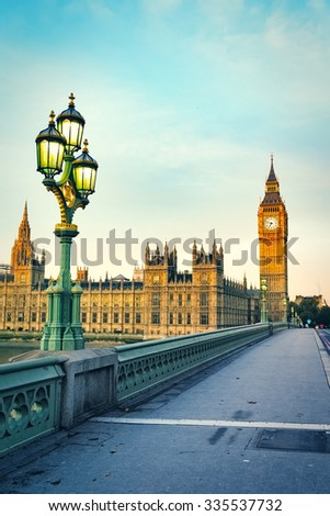 Houses of Parliament at atumn, London, UK. - stock photo