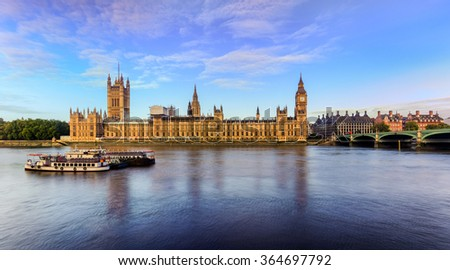 Houses of parliament at dawn, London, UK - stock photo