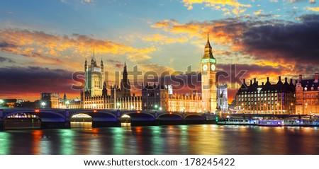 Houses of parliament - Big ben, London, UK - stock photo