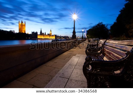Houses of Parliament from ablert embankment - stock photo