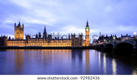 Houses of Parliament in the evening - stock photo