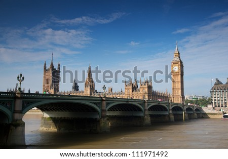 Houses of Parliament on the River thames - stock photo