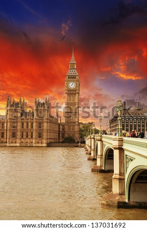 Houses of Parliament, Westminster Palace - London beautiful sunset colors. - stock photo