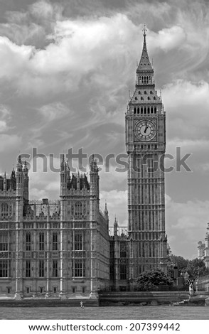 Houses of Parliament, Westminster Palace, London in black and white - stock photo