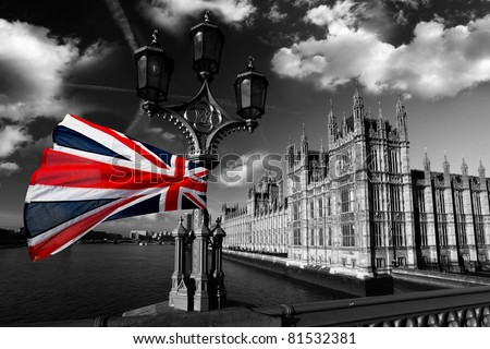 Houses of Parliament with flag of England, London, UK