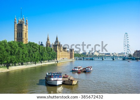 Houses of Parliament with Victoria Tower, Big Ben and Westminster Bridge in the summer, London, UK - stock photo