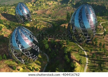 Houses of the future in the forest.3d render - stock photo