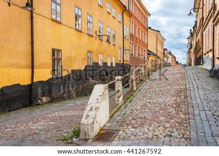 Houses on Brannkyrkagatan. Sodermalm, Stockholm, Sweden, Scandinavia - stock photo