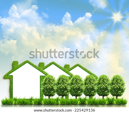 Houses on green field against the background of the sky - stock photo