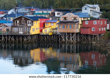 Houses on stilts in Castro, Chiloe Island, Patagonia, Chile - stock photo