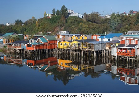 Houses on stilts (palafitos) in Castro, Chiloe Island, Patagonia, Chile - stock photo