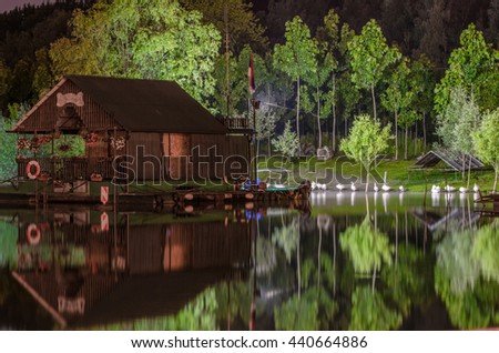 houses on the lake, the raft house on the river