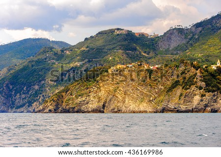 Houses on the mountains of Manarola (Manaea), a small town in province of La Spezia, Liguria, Italy. It's one of the lands of Cinque Terre, UNESCO World Heritage Site - stock photo