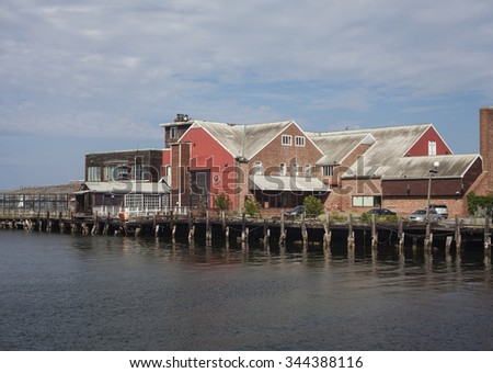 Houses on the quay in Boston, MA - stock photo