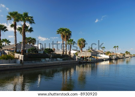 Houses on the water in Padre Island, Texas