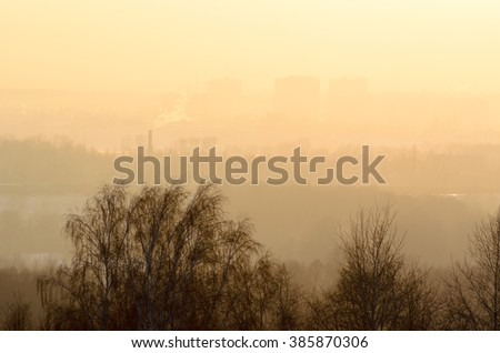 Houses, trees to the horizon all in the fog over the tops of the branches of trees in winter at sunset. Soft focus. - stock photo