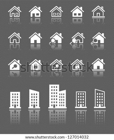 houses web icons set with reflection on dark background. raster version, vector file also available in gallery - stock photo