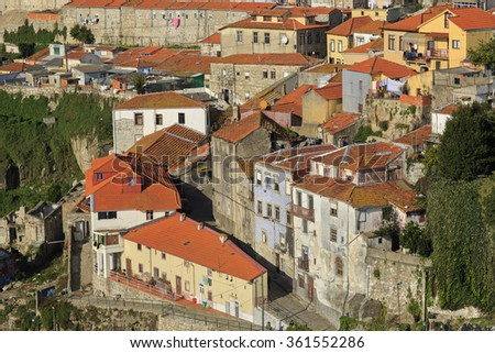 Houses with roofs and streets of Porto, Portugal