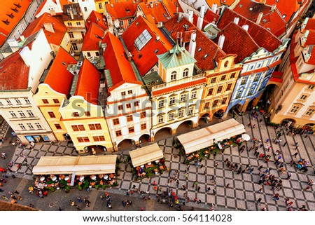 Houses With Traditional Red Roofs In Prague. Old Town Square In The Czech  Republic.
