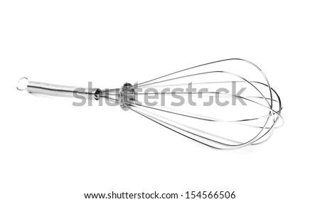 Houseware: steel whisk, isolated on white background - stock photo