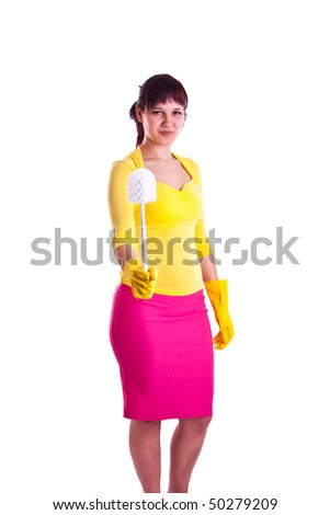 housewife in a studio - stock photo