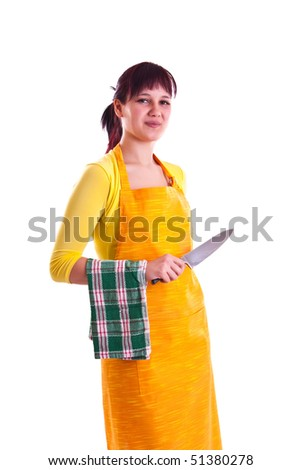 housewife with a knife - stock photo