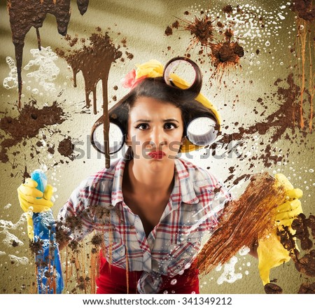 Housewife with disgusted expression cleaning dirty glass - stock photo