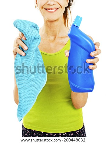 Housewife with rag / wipe and cleaning spray for window. Isolated on a white background. Woman is unrecognizable. - stock photo