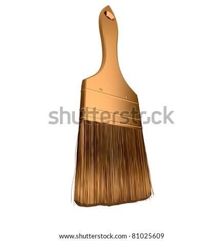 Housework: golden paintbrush isolated over white background - stock photo