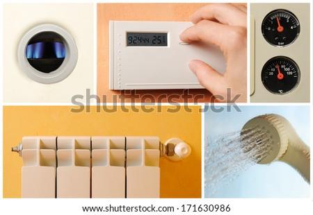 housing central heating set photos - stock photo