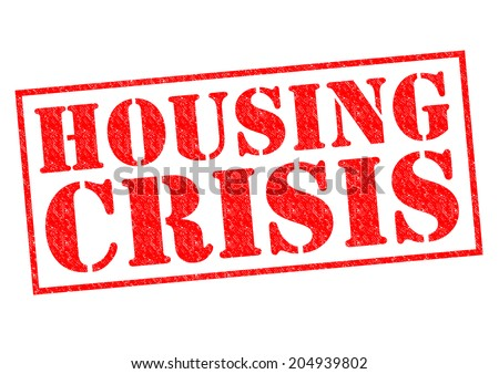 HOUSING CRISIS red Rubber Stamp over a white background. - stock photo