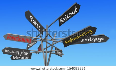 housing crisis words signs post over blue sky - stock photo