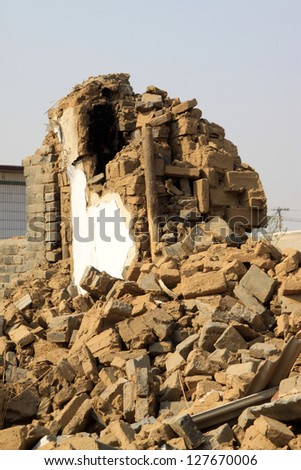 housing demolition materials in the demolition site, take photos in Luannan County, Hebei Province of China. - stock photo