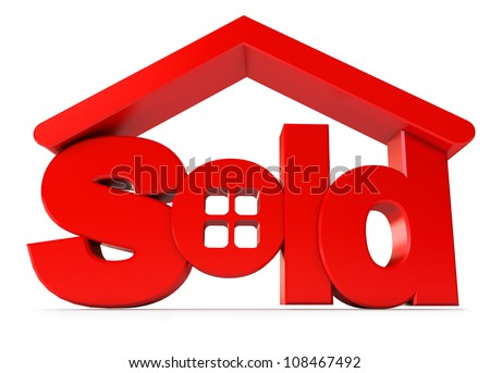 Housing for sale. Icon isolated on white background. 3d render - stock photo